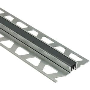 Dilex-KSN Aluminum with Black Insert 3/8 in. x 8 ft. 2-1/2 in. Metal Movement Joint Tile Edging Trim