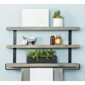Industrial Grace 5.5 in. x 36 in. x 20 in. Gray Pine Wood 3-Tier with Towel Bar Decorative Wall Shelf with Brac