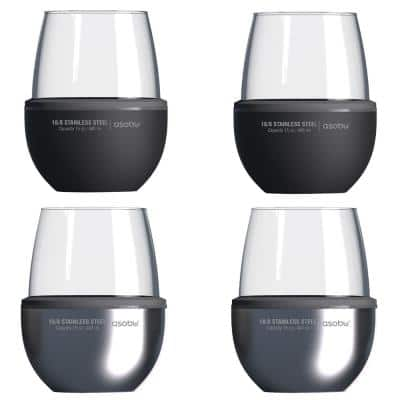 4-Piece Black and Silver Insulated Wine Kuzie