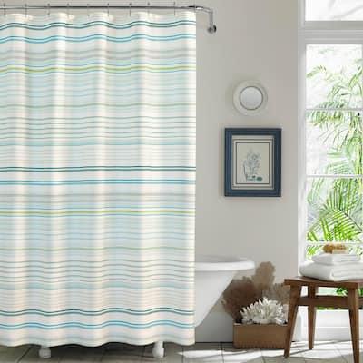 La Scala Breezer Green Cotton 72in X 72in. Shower Curtain