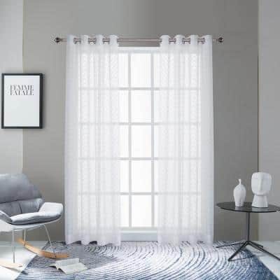 Pico 108 in.L x 54 in. W Sheer Polyester Curtain in White