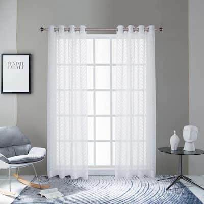 Pico 84 in.L x 54 in. W Sheer Polyester Curtain in White
