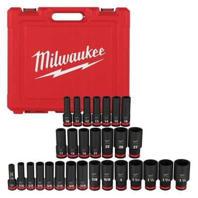 SHOCKWAVE 1/2 in. Drive SAE and Metric 6 Point Impact Socket Set (29-Piece)