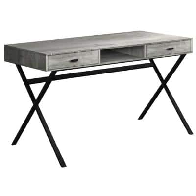 59 in. Rectangular Gray/Black 2 Drawer Writing Desk with Built-In Storage