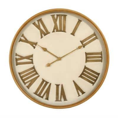 Modern Round and Gold Roman Numeral Clock