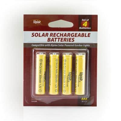 AAA Ni-CD Replacement Rechargeable Batteries for Solar Powered Garden Lights, Set of 4