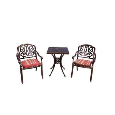 Jade 3-Piece Aluminum Outdoor Dining Set with Red Cushion