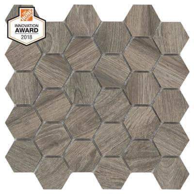 Shadow Wood Hexagon 12 in. x 12 in. x 8 mm Glazed Porcelain Mosaic Floor and Wall Tile (0.83 sq. ft./Each)