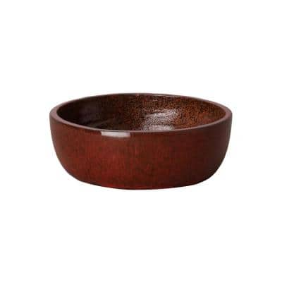 15 in. Shallow Tropical Red Round Ceramic Planter