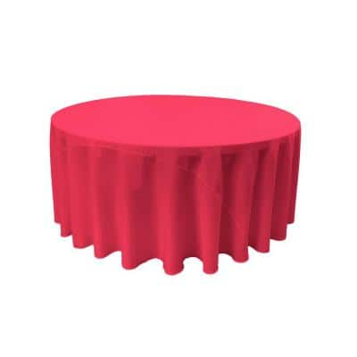 132 in. Fuchsia Polyester Poplin Round Tablecloth