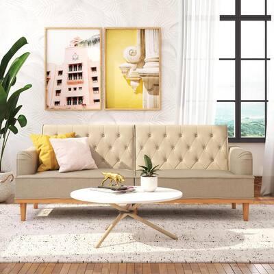 Stella Vintage Convertible Tan Linen Sofa Bed Futon