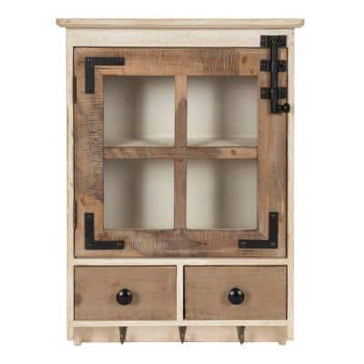 Hutchins 6 in. x 15 in. x 23 in. Rustic Brown/White Wood Decorative Cubby Wall Shelf with Hooks