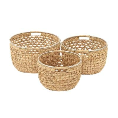 19 in. x 11 in. Natural Tan Brown Seagrass Round Basket with Cutout Handles and Silver Rim (Set of 3)