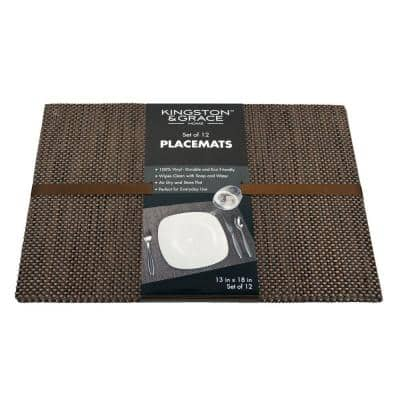 Kingston and Grace 13in. x 18in. Weave Placemat in Brown (Set of 12)