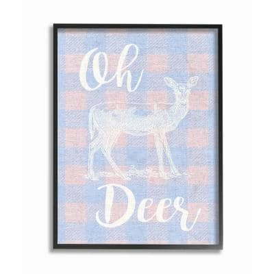 """""""Oh Deer White Stamp on Pink Plaid"""" by Daphne Polselli Wood Framed Animal Wall Art 20 in. x 16 in."""