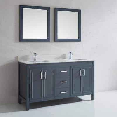 Dawlish 60 in. W x 22 in. D Vanity in Pepper Gray with Solid Surface Vanity Top in White with White Basin