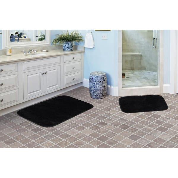 Garland Rug Traditional Black 2 Piece Washable Bathroom Rug Set Ba010w2p04j9 The Home Depot