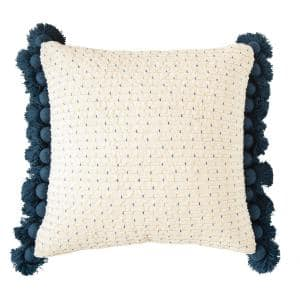 Blue Embroidered Cotton Woven 24 in. x 24 in. Throw Pillow