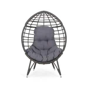 Santino Grey Removable Cushions Plastic Outdoor Lounge Chair with Dark Grey Cushion