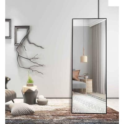 Lester 63 in. x 20 in. Black Modern Rectangle Aluminum Alloy Framed Full-Length Standing Mirror