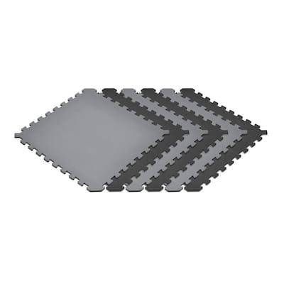 Gray/Black 24 in. x 24 in. EVA Foam Truly Reversible Interlocking Tile (60-Tile)