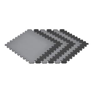 Gray/Black 24 in. x 24 in. EVA Foam Truly Reversible Interlocking Tile (48-Tile)