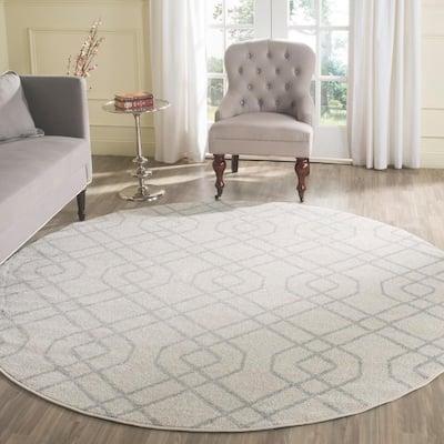 Amherst Ivory/Light Gray 7 ft. x 7 ft. Round Interlock Geometric Area Rug