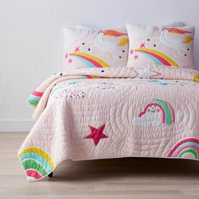 Playful Unicorn Multicolored Graphic Cotton Standard Sham