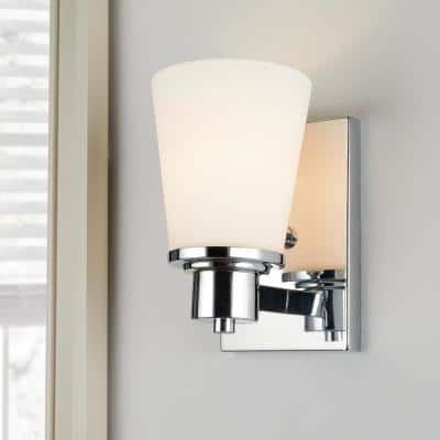 1-Light Chrome Bath Vanity Light with Bell Shaped Etched White Glass
