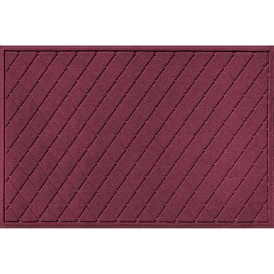 Aqua Shield Argyle Bordeaux 45 in. x 70 in.  Recycled Polyester/Rubber Indoor Outdoor Estate Mat