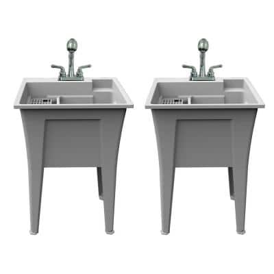 24 in. x 22 in. Polypropylene Granite Laundry Sink with 2 Hdl Non Metallic Pullout Faucet and Installation Kit (Pk of 2)
