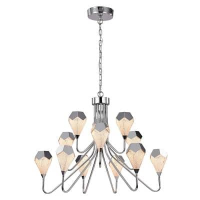 12-Light Beige Metal Vintage Diamond Chandelier with Clear Glass Shades