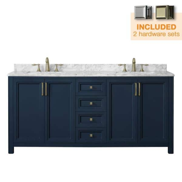 Home Decorators Collection Sandon 72 In W X 22 In D Bath Vanity In Midnight Blue With Marble Vanity Top In Carrara White With White Basin Sandon 72mb The Home Depot