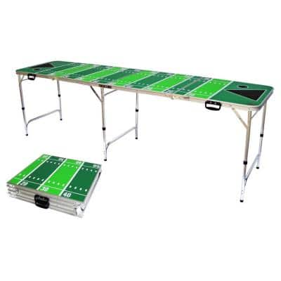 8 ft. Folding Beer Pong Table with Bottle Opener, Ball Rack and 6 Pong Balls - Football Design