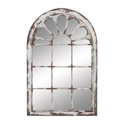 Multi Colored Arched Window Framed Wall Mirror With Distressed Metal And Wood Finish, 34 in. x 52 in.