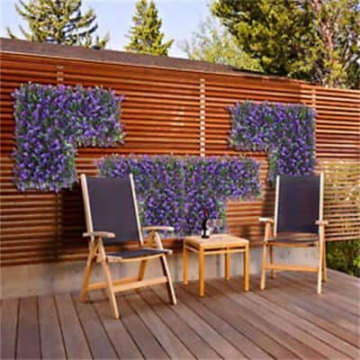 GorgeousHome Artificial Boxwood Hedge Greenery Panels PurpleMilan 20 in. x 20 in. (6-Piece)