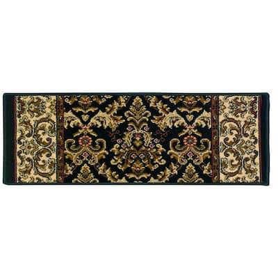 Kurdamir Elegante Black 9 in. x 33 in. Stair Tread Cover