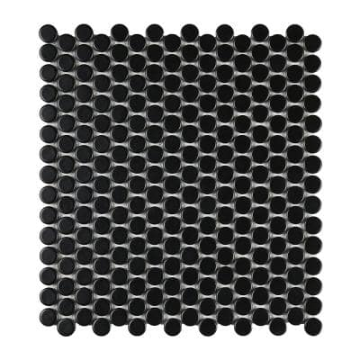 Cascades Black 11.5 in. x 12.5 in. Penny Round Matte Porcelain Mesh-Mounted Mosaic Tile (1.00 sq. ft./Each)