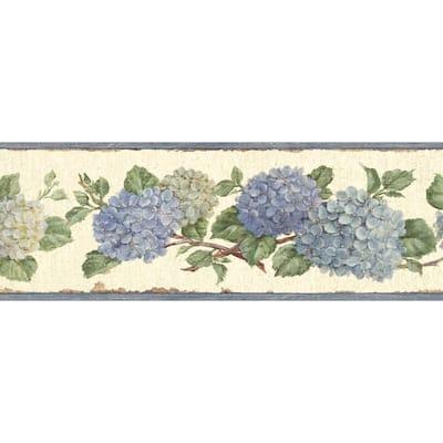 Esther Blue Hydrangea Trail Blue Wallpaper Border