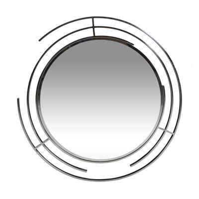 Renfroe 35. 40 in. x 35.40 in. Modern Round Framed Silver Accent Mirror
