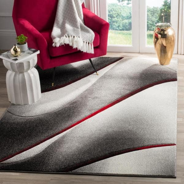 Safavieh Hollywood Gray Red 9 Ft X 12 Ft Area Rug Hlw712k 9 The Home Depot
