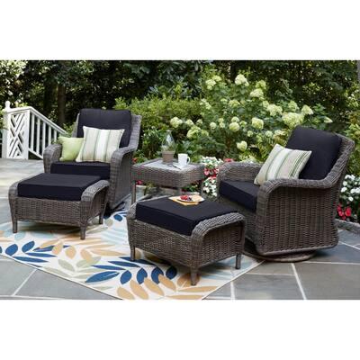 Cambridge Gray Wicker Outdoor Patio Ottoman with CushionGuard Midnight Navy Blue Cushions