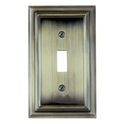 Continental 1 Gang Toggle Metal Wall Plate - Brushed Brass