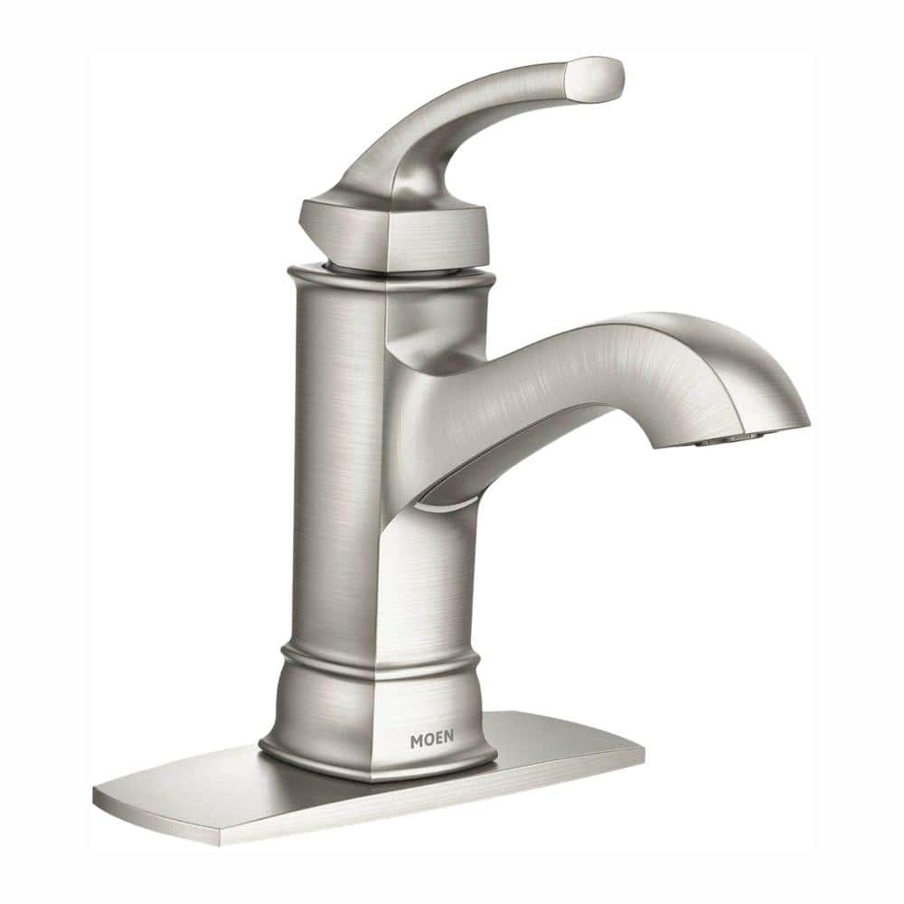 Moen Hensley Single Hole Single Handle Bathroom Faucet In Spot Resist Brushed Nickel Ws84414msrn The Home Depot