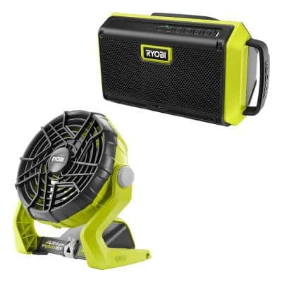 ONE+ 18V Cordless 2-Tool Combo Kit with Speaker with Bluetooth Wireless Technology and Hybrid Portable Fan (Tools Only)