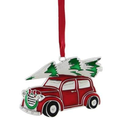 3.25 in. Red  White and Green Silver Plated Car with Tree and Wreath Christmas Ornament
