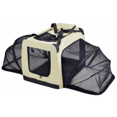 Hounda Accordion Metal Framed Collapsible Expandable Pet Dog Crate - X-Small in Khaki