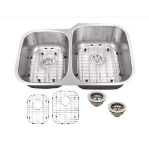 Undermount 18-Gauge Stainless Steel 31-1/2 in. 0-Hole 40/60 Double Bowl Kitchen Sink with Grid Set and Drain Assemblies