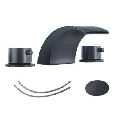 8 in. Widespread Double Handle Bathroom Faucet with Pop-Up Drain and Supply Lines in Oil Rubbed Bronze Waterfall Faucets