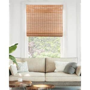 Premium True-to-Size Brown Squirrel Cordless Light Filtering Natural Woven Bamboo Roman Shade 31 in. W x 64 in. L